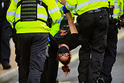 Police officers carry a climate activist from Extinction Rebellion during the group's 'Impossible Rebellion' series of actions at Oxford Circus in central London, on Wednesday, August 25, 2021. - Climate change demonstrators from environmental activist group Extinction Rebellion continued with their latest round of protests in central London, promising two weeks of disruption. (VX Photo/ Vudi Xhymshiti)