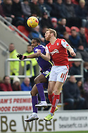 Zakarya Bergdich of Charlton Athletic and Rotherham United midfielder Paul Green  during the Sky Bet Championship match between Rotherham United and Charlton Athletic at the New York Stadium, Rotherham, England on 30 January 2016. Photo by Ian Lyall.