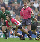 Reading, Berkshire, 10th May 2003,  [Mandatory Credit; Peter Spurrier/Intersport Images], Zurich Premiership Rugby, Shogans Agustin Pinhot, clears the ball, as referee Tony Spreadbury , points to an infringement behind the scrum,