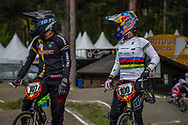 #107 (OSORNO CALDERON Maria Paulina) COL and#100 (PAJON Mariana) COL during round 3 of the 2017 UCI BMX  Supercross World Cup in Zolder, Belgium,