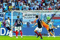 VM fotball 2018: Frankrike - Argentina. Frankrikes Benjamin Pavard scorer 2-2 i VM-kampen i fotball mellom Frankrike og Argentina på Kazan Arena. Målet blir av FIFA kåret til det vakreste målet i VM 2018.<br /> <br /> France's Benjamin Pavard scores what became the best goal of the FIFA World Cup 2018, the 2-2 goal against Argentina.