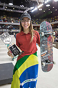 Pamela Rosa, Brazil, wins the women's Street League Skateboarding World Tour Event at Queen Elizabeth Olympic Park on 26th May 2019 in London in the United Kingdom.