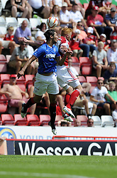 Glasgow Rangers' Emilson Cribari battles for the high ball with Bristol City's Ryan Taylor - Photo mandatory by-line: Joe Meredith/JMP - Tel: Mobile: 07966 386802 13/07/2013 - SPORT - FOOTBALL - Bristol -  Bristol City v Glasgow Rangers - Pre Season Friendly - Bristol - Ashton Gate Stadium