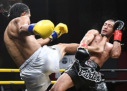July 28, 2018 - Mashantucket, CT, U.S. - MASHANTUCKET, CT - JULY 28: Mike Triana (red tape) takes on Jordan Harris (blue tape) in a Lightweight  bout on July 28, 2018 at Lion Fight 45 at the Fox Theater of Foxwoods Casino in Mashantucket, Connecticut. Jordan Harris defeats Mike Triana via decision. (Photo by Williams Paul/Icon Sportswire) (Credit Image: © Williams Paul/Icon SMI via ZUMA Press)