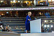 Former U.S. Secretary of State Madeleine Albright addresses the crowd at the 2016 DNC
