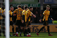 Robbie Willmott of Newport County ©  celebrates with his teammates after he scores his teams 2nd goal to make it 2-1. EFL Skybet football league two match, Newport county v Exeter City  at Rodney Parade in Newport, South Wales on New Years Day, Monday 1st January 2018.<br /> pic by Andrew Orchard,  Andrew Orchard sports photography.