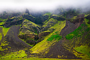 Mountain landscape in fog, South Iceland