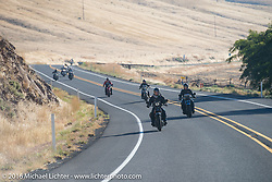 Harley-Davidson licensed artist Scott Jacobs riding his 1926 Harley-Davidson JD during Stage 15 (244 miles) of the Motorcycle Cannonball Cross-Country Endurance Run, which on this day ran from Lewiston, Idaho to Yakima, WA, USA. Saturday, September 20, 2014.  Photography ©2014 Michael Lichter.