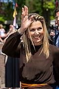 BEERZE - Koningin Maxima tijdens een werkbezoek aan Vakantiepark Beerze Bulten. Het bezoek van de koningin aan de regio Zwolle staat in het teken van ontwikkelingen op de arbeidsmarkt. FOTO: Brunopress/ VINCENT JANNINK