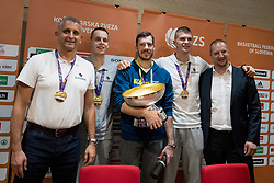 Goran Dragic, Klemen Prepelic, Edo Muric, Igor Kokoskov and Matej Erjavec at press conference of KZS and Slovenian national baskteball team after winning Gold medal at Eurobasket 2017 - Istanbul on September 19, 2017 in Austria Trend Hotel, Ljubljana, Slovenia. Photo by Matic Klansek Velej / Sportida