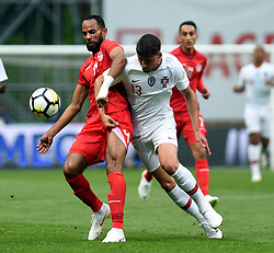 BRAGA, May 29, 2018  Ruben Dias (R) of Portugal vies with Saber Khalifa of Tunisia during the 2018 World Cup friendly soccer match between Portugal and Tunisia at Braga Municipal Stadium in Braga, Portugal, on May 28, 2018. The match ended with a 2-2 tie. (Credit Image: © Zhang Liyun/Xinhua via ZUMA Wire)