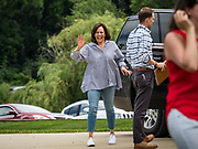 """04 JULY 2019 - INDIANOLA, IOWA: US Senator KAMALA HARRIS (D-CA) arrives at a campaign event in Indianola Thursday afternoon. Sen. Harris attended a """"house party"""" in Indianola as a part of her campaign to be the Democratic nominee for the US presidency in 2020. Iowa traditionally holds the first selection of the presidential election cycle. The Iowa caucuses are Feb. 3, 2020.       PHOTO BY JACK KURTZ"""