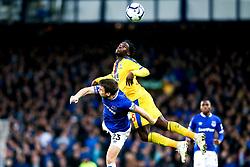Jeffrey Schlupp of Crystal Palace beats Seamus Coleman of Everton to a header - Mandatory by-line: Robbie Stephenson/JMP - 21/10/2018 - FOOTBALL - Goodison Park - Liverpool, England - Everton v Crystal Palace - Premier League