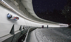 20.02.2016, Olympiaeisbahn Igls, Innsbruck, AUT, FIBT WM, Bob und Skeleton, Herren, Viererbob, 2. Lauf, im Bild Yunjong Won, Jinsu Kim, Kyunghyun Kim, Jeahan Oh (KOR) // Yunjong Won Jinsu Kim Kyunghyun Kim Jeahan Oh of Republic of Korea competes during Four-Man Bobsleigh 2nd run of FIBT Bobsleigh and Skeleton World Championships at the Olympiaeisbahn Igls in Innsbruck, Austria on 2016/02/20. EXPA Pictures © 2016, PhotoCredit: EXPA/ Johann Groder