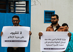 May 2, 2019 - Gaza City, Palestine, 2 May 2019. The Ministry of Information together with the Government Information Office organize a demonstration on the occasion of World Press Freedom Day outside the United Nations headquarters, west of Gaza City. Participants held banners defending freedom of information, upholding the rights of journalists to defend the truth and protesting against their legal prosecution and arrests, and remembering the journalists killed while carrying out their duties (Credit Image: © Ahmad Hasaballah/IMAGESLIVE via ZUMA Wire)