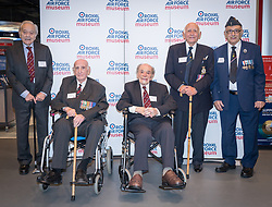 """Veterans at Hidden Heroes, an event celebrating the part played by Jewish volunteers in the Royal Air Force during World War Two, at the RAF Museum in London. L-R: Laurence """"Benny"""" Goodman, Alfred Guberman, Jack Toper, Bernard Carton and Ralph Levy. The event is part of celebrations to mark the centenary of the RAF. Photo date: Thursday, November 15, 2018. Photo credit should read: Richard Gray/EMPICS"""