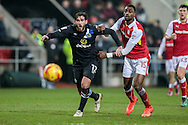 Danny Graham (Blackburn Rovers) and Semi Ajayi (Rotherham United) fight for the ball as it drops over them during the EFL Sky Bet Championship match between Rotherham United and Blackburn Rovers at the AESSEAL New York Stadium, Rotherham, England on 11 February 2017. Photo by Mark P Doherty.