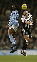 Fotball<br /> England 2004/2005<br /> Foto: SBI/Digitalsport<br /> NORWAY ONLY<br /> <br /> Manchester City v Newcastle United<br /> FA Barclays Premiership.<br /> 02/02/2005.<br /> City's Kiki Musampa and Newcastle's Stephen Carr
