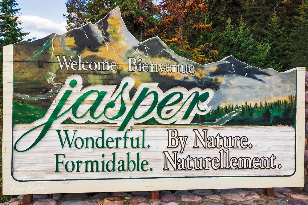 Town welcome sign, Jasper National Park, Alberta Canada