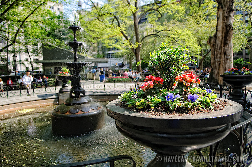 Fountain and flowers in Madison Square Park, New York City