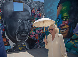 The Duchess of Cornwall stands in front of a mural of Kofi Annan, during a visit to the Jamestown Cafe in Accra, Ghana, on day four of her trip to west Africa with the Prince of Wales.