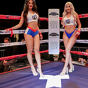 KISSIMMEE, FL - MARCH 05: The All Star ring card girls pose during the Boxeo Telemundo All Star Boxing event at Osceola Heritage Park on March 5, 2021 in Kissimmee, Florida. (Photo by Alex Menendez/Getty Images) *** Local Caption ***