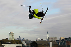 © Licensed to London News Pictures. 28/10/2011, London, UK.  Britain's  Nathan Connolly jumps during the Battle of Britain freestyle ski competition at the Freeze Snowboard and Ski Festival at Battersea Power Station in London, Friday, Oct. 28, 2011. Photo credit : Sang Tan/LNP