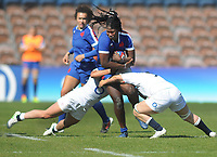 Rugby Union - 2021 Women's Six Nations - Final - England vs France - The Stoop<br /> <br /> Madoussou Fall of France is stopped from both sides<br /> <br /> Credit : COLORSPORT/ANDREW COWIE