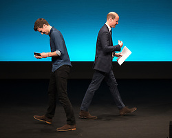 © Licensed to London News Pictures . 06/12/2017 . Manchester , UK . DJ GREG JAMES introduces PRINCE WILLIAM for the Prince's speech to the audience . The Duke And Duchess Of Cambridge, Prince William and Kate Middleton, attend the Children's Global Media Summit at the Manchester Central Convention Centre . Photo credit : Joel Goodman/LNP