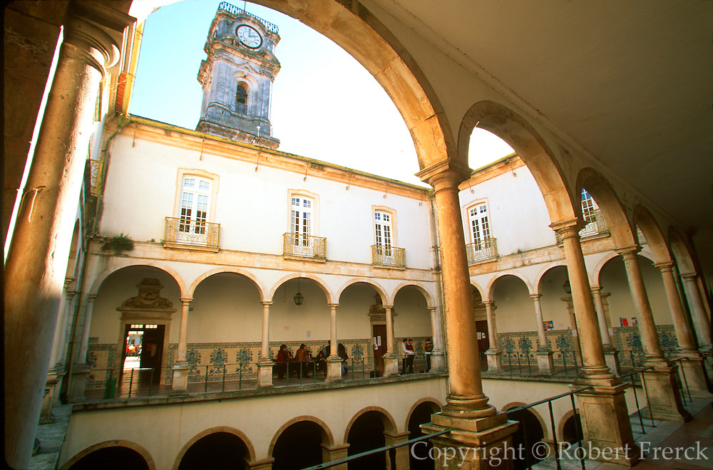PORTUGAL, CENTRAL AREA, COIMBRA once capital and site of Portugal's oldest University; interior courtyard classrooms and students