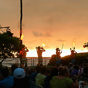 A luau (Hawaiian: lūʻau) is a traditional Hawaiian party or feast that is usually accompanied by entertainment. It may feature food such as poi, kalua pig, poke, lomi salmon, opihi, haupia and beer, and entertainment such as traditional Hawaiian music and hula.