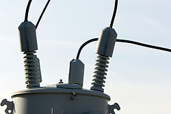 10 November 2007: Electric transmission is controlled by the transformer that these lines and insulators are attached.