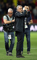 Manchester United manager Jose Mourinho celebrates after the final whistle during the Premier League match at Vicarage Road, Watford
