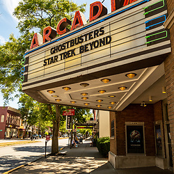 Wellsboro, PA - July 26, 2016: The Arcadia Movie Theater arcade on the Main Street of Wellsboro in Tioga County, Pennsylvania