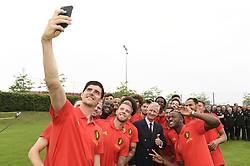 June 9, 2018 - Tubize, BELGIUM - King Philippe - Filip of Belgium poses for a selfie with Red Devils, goalkeeper Thibaut Courtois, Dries Mertens during a Royal visit to a training session of the Belgian national soccer team Red Devils, Saturday 09 June 2018, in Tubize. The Red Devils started their preparations for the upcoming FIFA World Cup 2018 in Russia...BELGA PHOTO POOL PHILIPPE CROCHET (Credit Image: © Pool Philippe Crochet/Belga via ZUMA Press)