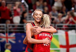England's Helen Housby (left) and Chelsea Pitman celebrate their win against New Zealand in the netball at the Gold Coast Convention and Exhibition Centre during day seven of the 2018 Commonwealth Games in the Gold Coast, Australia.