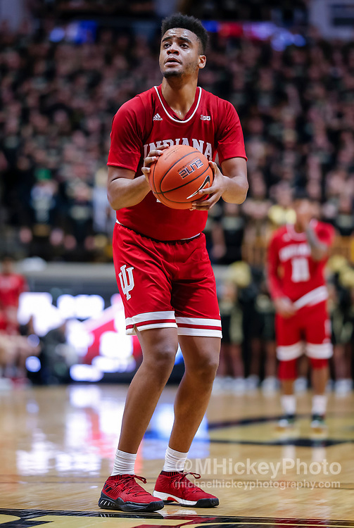 WEST LAFAYETTE, IN - JANUARY 19: Juwan Morgan #13 of the Indiana Hoosiers shoots a free throw during the game against the Purdue Boilermakers at Mackey Arena on January 19, 2019 in West Lafayette, Indiana. (Photo by Michael Hickey/Getty Images) *** Local Caption *** Juwan Morgan