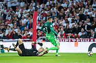 England (1) Joe Hart, Slovenia (7)Josip Iličić during the FIFA World Cup Qualifier match between England and Slovenia at Wembley Stadium, London, England on 5 October 2017. Photo by Sebastian Frej.
