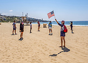 Social Distancing Freedom Protest on the Beach in Corona Del Mar