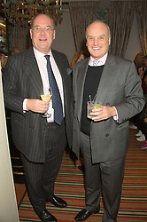 Left to right, PETER ACKROYD and NICHOLAS COLERIDGE at a cocktail reception hosted by the Woolmark Company, Pierre Lagrange and the Savile Row Bespoke Association to celebrate 'The Ambassador's Project' for London Collections Mens at Marks Club, Charles street, London on 8th January 2016.