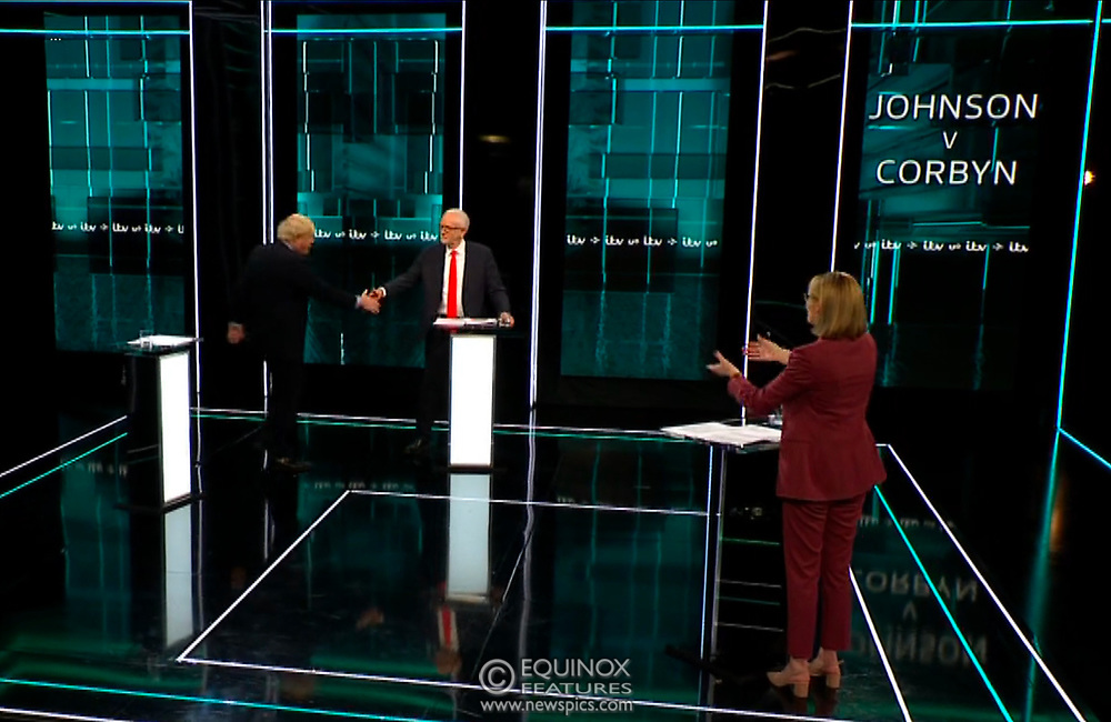 Broadcast TV, United Kingdom - 19 November 2019<br /> Labour leader Jeremy Corbyn and Prime Minister Boris Johnson debate live on ITV tonight as part of the 2019 general election campaign.<br /> (supplied by: Supplied by: EQUINOXFEATURES.COM)<br /> Picture Data:<br /> Contact: Equinox Features<br /> Date Taken: 20191119<br /> Time Taken: 203251<br /> www.newspics.com