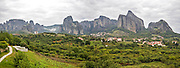 Spectacular panorama of Meteora rock formations and monasteries, Meteora, Plain of Thessaly, Greece