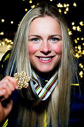 February 2, 2018 - Goms, SWITZERLAND - 180202 Frida Karlsson of Sweden poses with the gold medal for the women's 5/5 km skiathlon during the FIS Nordic Junior World Ski Championships on February 2, 2018 in Gluringen..Photo: Vegard Wivestad GrÂ¿tt / BILDBYRN / kod VG / 170097 (Credit Image: © Vegard Wivestad Gr¯Tt/Bildbyran via ZUMA Press)