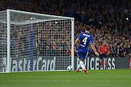 Cesc Fabregas of Chelsea scores his sides fourth goal to make it 4-0 into an open net. UEFA Champions League group G match, Chelsea v Maccabi Tel Aviv at Stamford Bridge in London on Wednesday 16th September 2015.<br /> pic by John Patrick Fletcher, Andrew Orchard sports photography.