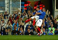 Fotball<br /> England<br /> Foto: SBI/Digitalsport<br /> NORWAY ONLY<br /> <br /> Portsmouth v Fulham<br /> <br /> Barclays Premiership. 30/08/2004<br /> <br /> Eyal Berkovic and David Unsworth of Portsmouth celebrates scoring the opening goal