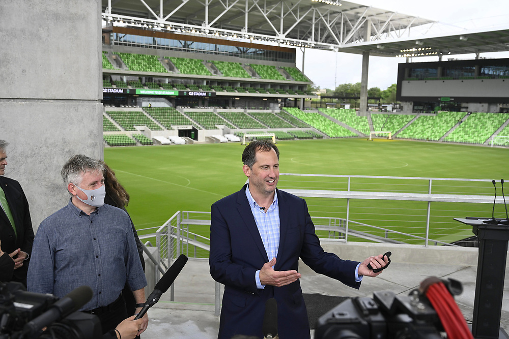 Austin, TX FC officials including President Andy Loughnane Mayor Steve Adler announce that declining pandemic numbers will allow 100% stadium capacity for Austin's Major League Soccer opening game next month. The Stadium will host the U.S. Soccer Women's National Team in a friendly with Nigeria on June 16th, 2021.