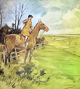 """Colourised image of Tally-ho ! """" shouts our friend Jack from the book  The sport of our ancestors; being a collection of prose and verse setting forth the sport of fox-hunting as they knew it; by baron Willoughby de Broke, Richard Greville Verney, 1869-1923; and illustrated by Armour, G. D. (George Denholm),  Published in London by Constable and co. ltd. in 1921"""