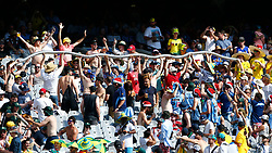 Australian fans hold up a ' beer snake ' during day one of the Ashes Test match at the Melbourne Circket Ground, Melbourne.