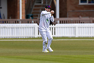 WICKET Ian Holland catches last man Alex Evans during Day 3 of the LV= Insurance County Championship match between Leicestershire County Cricket Club and Hampshire County Cricket Club at the Uptonsteel County Ground, Leicester, United Kingdom on 10 April 2021.
