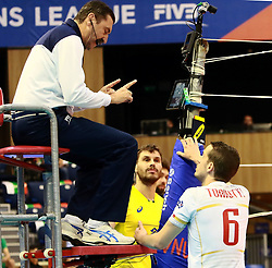 June 16, 2018 - Varna, Bulgaria - in the middle Bruno Mossa REZENDE (Brazil), right Raphael CORRE (France), .mens Volleyball Nations League,week 4, Brazil vs Francel, Palace of culture and sport, Varna/Bulgaria, June 16, 2018, the fourth of 5 weekends of the preliminary lap in the new established mens Volleyball Nationas League takes place in Varna/Bulgaria. (Credit Image: © Wolfgang Fehrmann via ZUMA Wire)